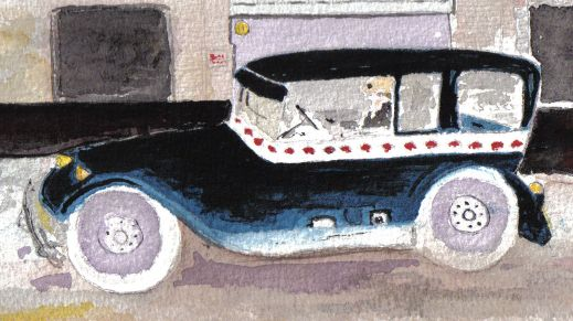 Colorful graphic of a Winnipeg taxicab: Diamond Taxi, water colour by Randall Dyck