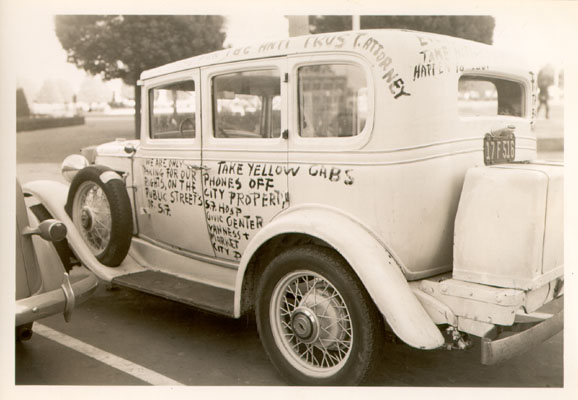 Taxi with protest message in 1941